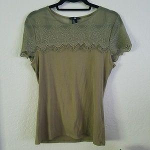 H&M Army Green Shirt Blouse size M